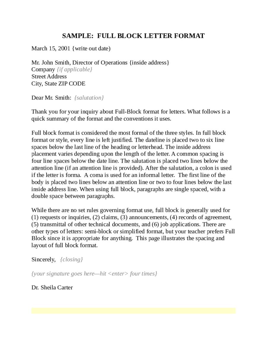 full block letter format