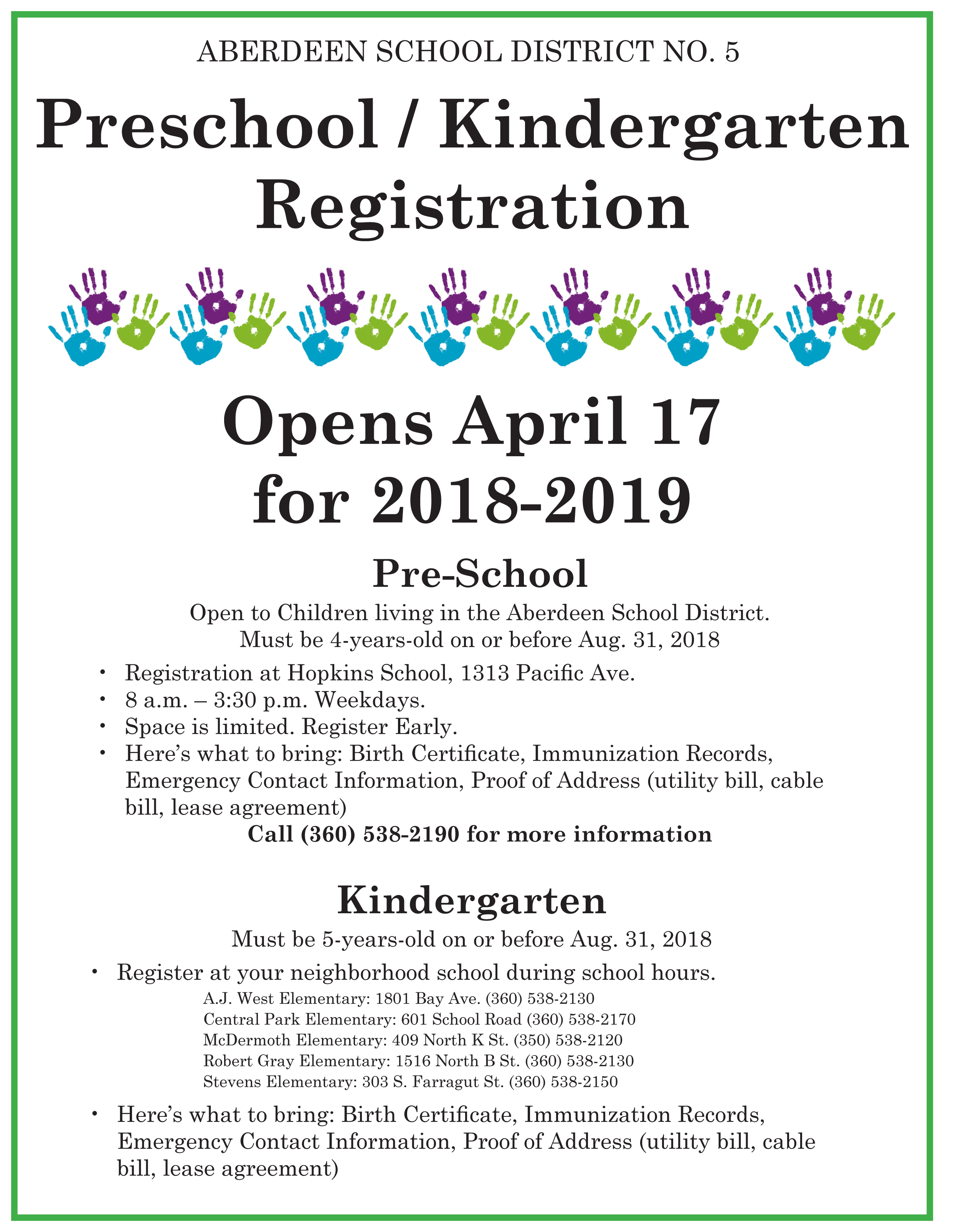 Preschool/Kindergarten Registration 2018